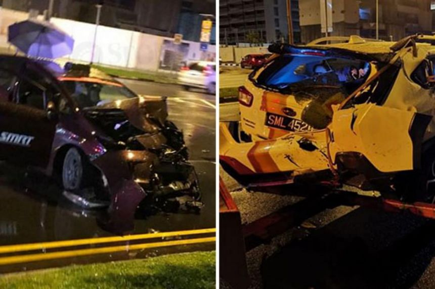 Photos of the accident's aftermath show the back of the car damaged and the front of one of the taxis, which is from SMRT, crushed.