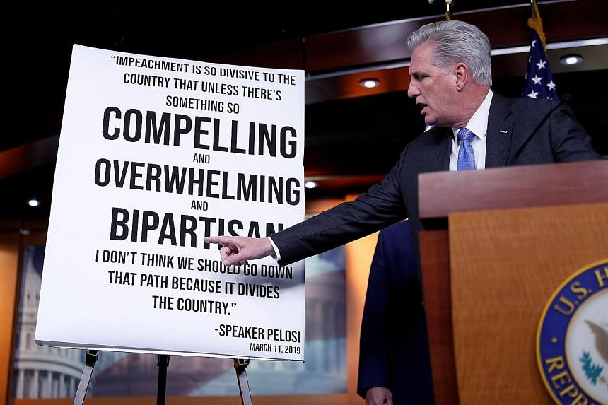 House Minority Leader Kevin McCarthy, a Republican, delivering remarks against impeachment during a press conference on Capitol Hill on Tuesday. PHOTO: REUTERS
