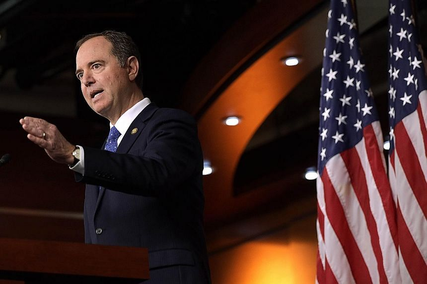 United States House Intelligence Committee chairman Adam Schiff speaking at a news conference on the Trump impeachment inquiry on Tuesday in Washington. The Democratic Party-controlled House Intelligence Committee has released a report laying out its