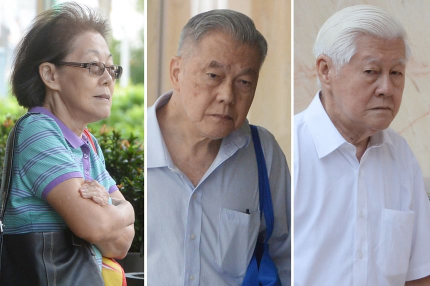 In 1991, Mr Neo Aik Soo (centre) bought a shophouse that was sold in 2017 for about $8.1 million, but two of his siblings, Ms Neo Geek Kuan and Mr Neo Aik Siong, claimed that it had been purchased with family funds.