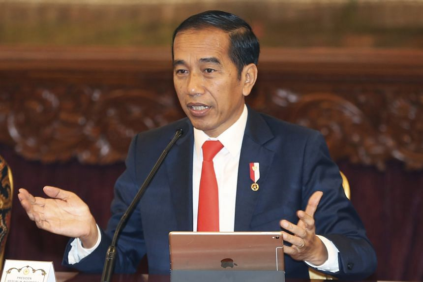 Indonesia President Joko Widodo speaking at a press conference in Jakarta, on Aug 26, 2019.