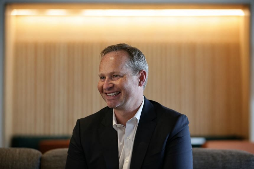 A photo from Aug 7, 2019, shows Expedia Group's CEO Mark Okerstrom in the Expedia office at South Beach Tower in Singapore.