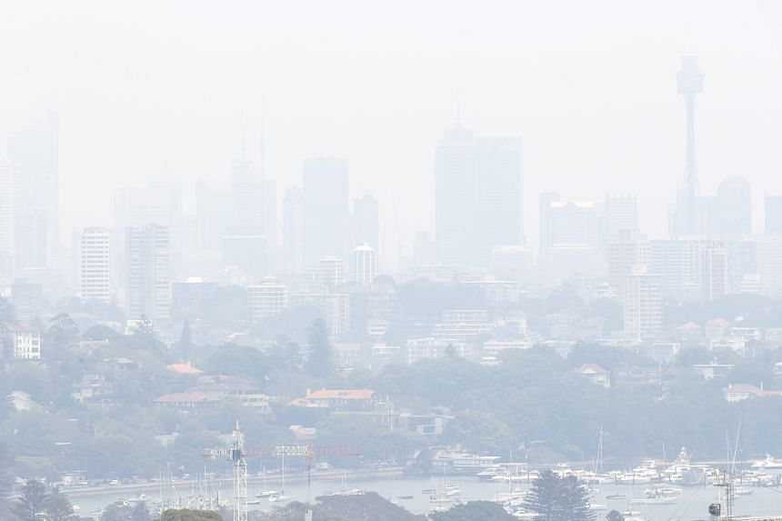 Smoke from wildfires seen in Sydney, on Dec 3, 2019.