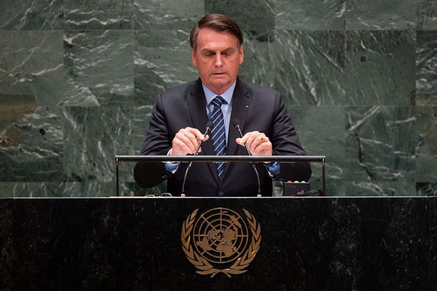 Brazil President Jair Bolsonaro speaks at the 74th session of the UN General Assembly in New York in September 2019.
