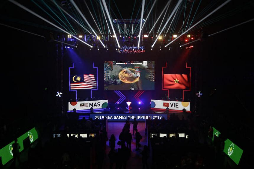 Malaysia and Vietnam battle it out during the E-sports (electronic sports) Mobile Legends Bang Bang matches at the 30th SEA Games in Manila on Dec 5, 2019.