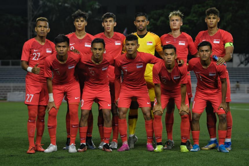 A photo taken on Dec 3, 2019, shows the Singapore Under-22 football before their SEA Games match against Vietnam in Manila.