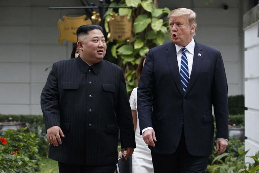A photo taken on Feb 28, 2019, shows US President Donald Trump and North Korean leader Kim Jong Un after their meeting in Hanoi.
