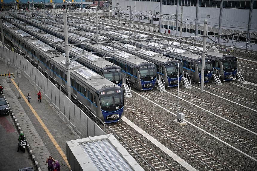 The train depot near the Lebak Bulus MRT station in Jakarta. The planned US$40 billion (S$55 billion) expansion of the Indonesian capital's metro network is poised to boost the country's construction companies and reignite a rivalry between China and