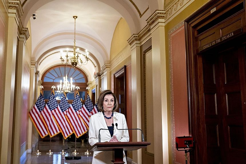 US House of Representatives Speaker Nancy Pelosi making a televised statement in Washington yesterday where she announced that she has instructed the House Judiciary Committee to draft articles of impeachment against President Donald Trump