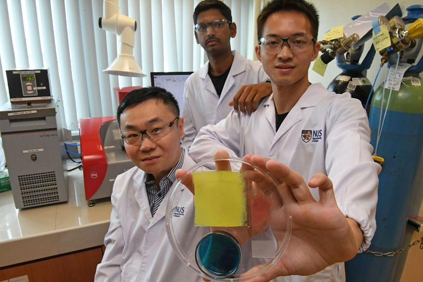 A team of researchers from NUS developed a hydrogel which, when combined with some chemicals and a thin carbon mesh, can absorb water vapour from the air and break it down into hydrogen and oxygen molecules, lowering the humidity in a room.