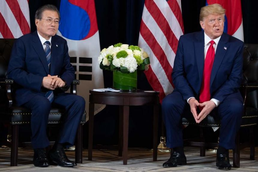 In a photo taken on Sept 23, 2019, US President Donald Trump (right) and South Korean President Moon Jae-in hold a meeting on the sidelines of the UN General Assembly in New York.