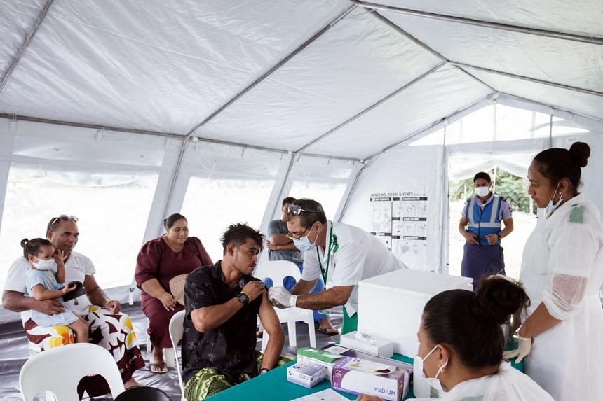 A photo from Dec 4, 2019, shows a nurse vaccinating residents at the Poutasi district hospital in the Samoan town of Poutasi.