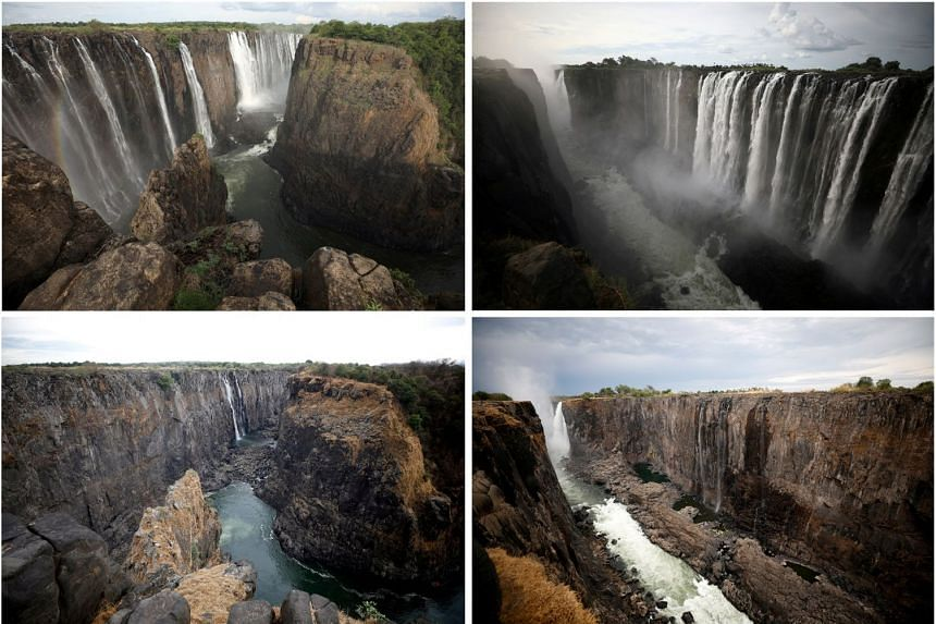 Victoria Falls In Africa Shrink To A Trickle Feeding