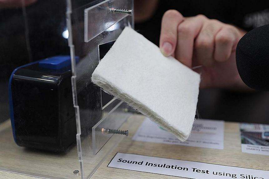 The Singapore Polytechnic team's aerogel can be used as a sound barrier. When combined with glass fibre, the material can reduce sound levels by 12.5 per cent.