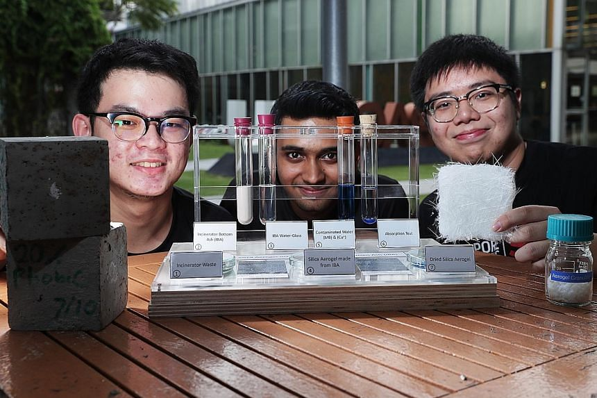 Singapore Polytechnic students (from left) Nicolaus Syaiful, Sakalesh Ashoka Rugi and Jordan Lim are part of a team that has turned a by-product of incinerating waste into an aerogel which has the potential to be used as a water decontaminant, as a s
