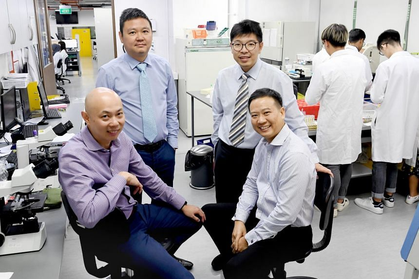 (Clockwise from top left) Dr David Ong Eng Hui, Dr Jonathan Lee,  Associate Professor Jeremy Lim and Dr Christopher Ting of the Asian Microbiome Library.