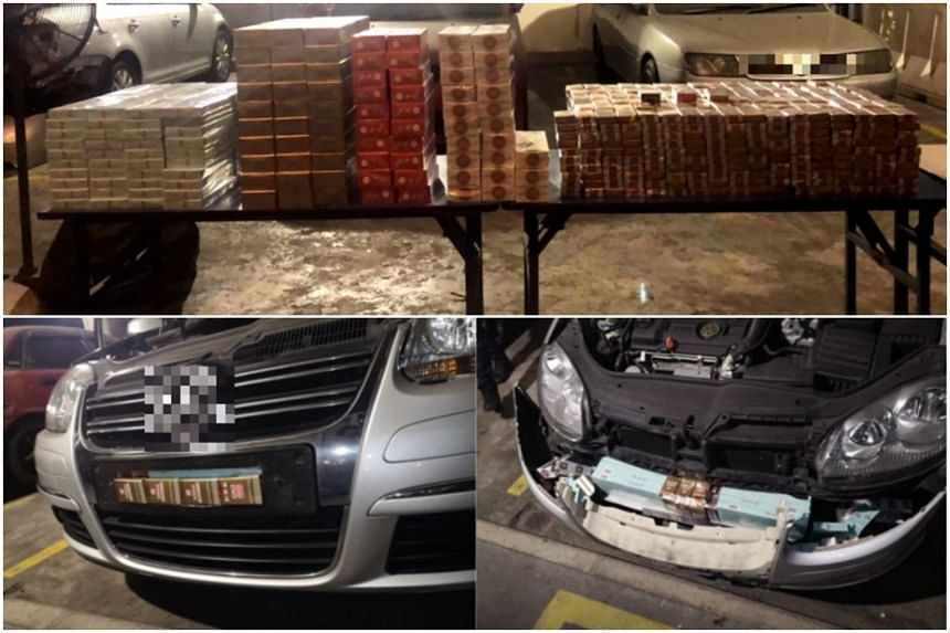 Officers from the Immigration and Checkpoints Authority found contraband cigarettes hidden within compartments of the car.