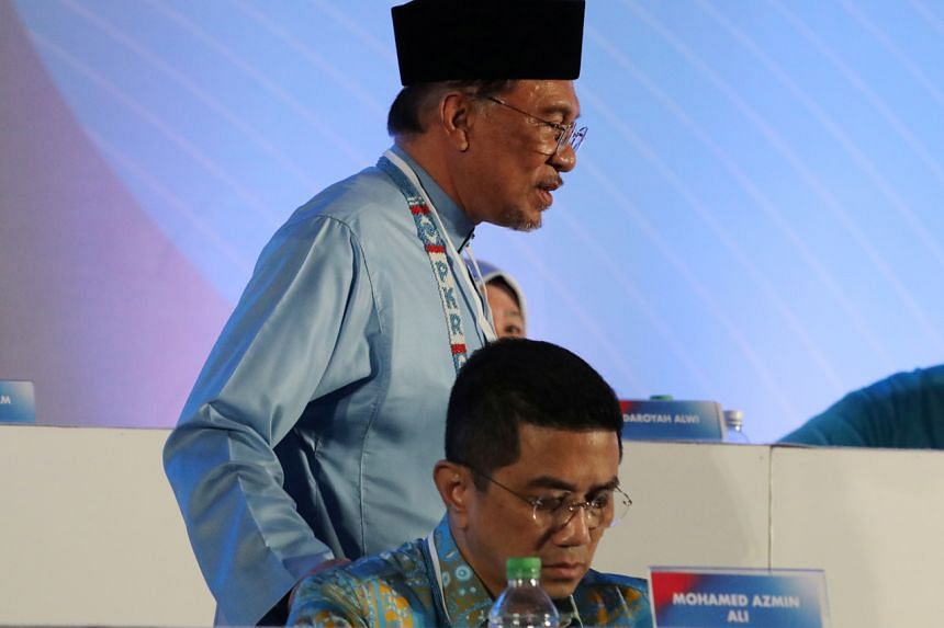 Parti Keadilan Rakyat (PKR) president Anwar Ibrahim and deputy president Azmin Ali at PKR's national congress on Dec 7, 2019.