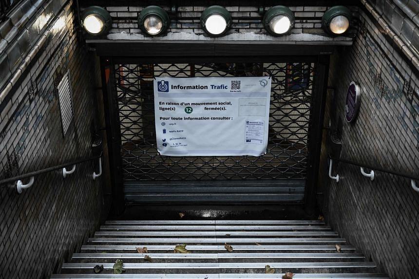 A closed metro line station in Paris on Dec 6, 2019.