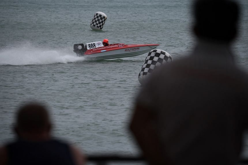 Britain's Dave Sheldon vies for pole position during the Singapore Asia Powerboat Championship at the NSRCC Sea Sports Centre on Dec 6, 2019.