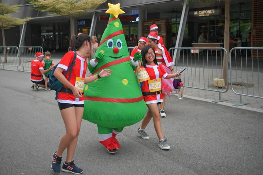 Participants at the annual Santa Run for Wishes, organised by Make-A-Wish Singapore, on Dec 7, 2019.