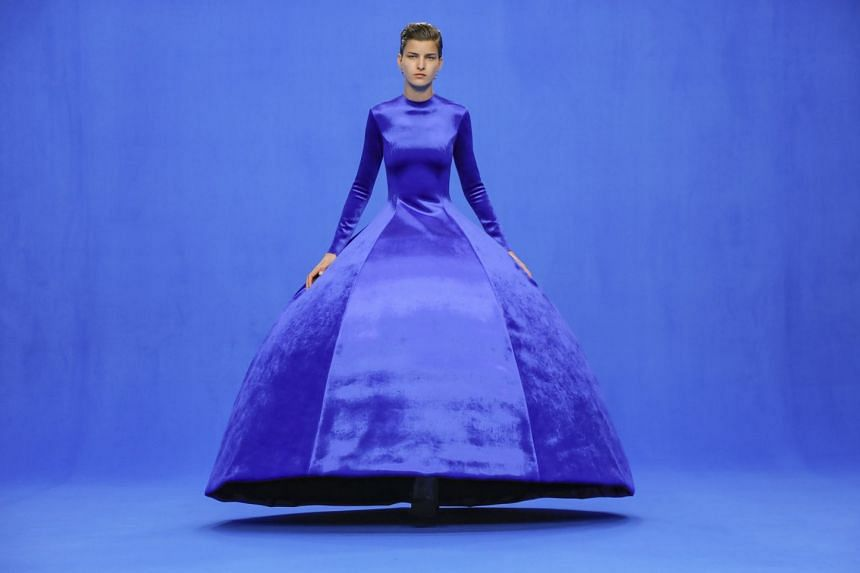 A model in a creation from the Balenciaga spring 2020 collection in Paris. Pantone's Classic Blue is 'easily relatable', says the colour company.