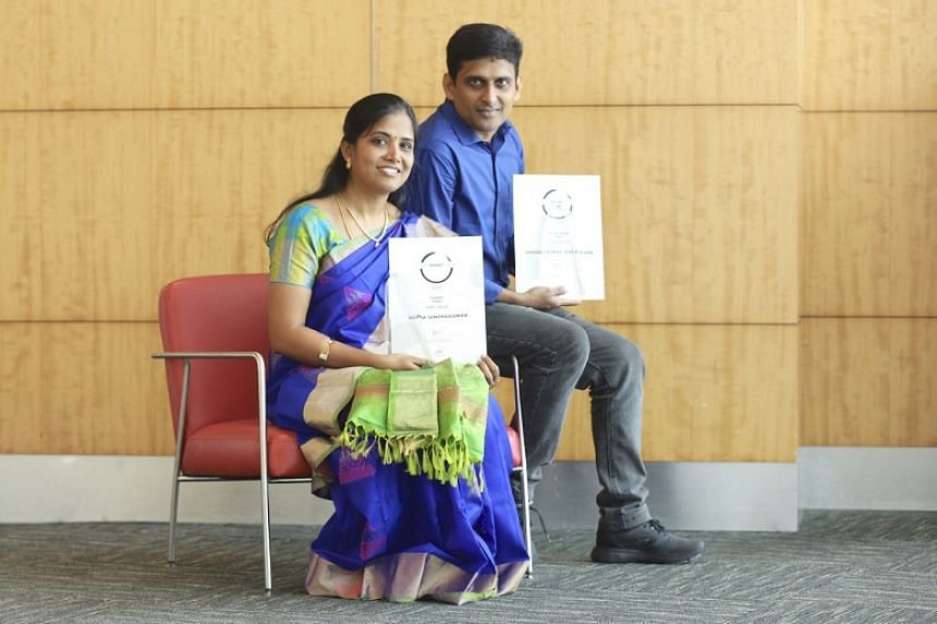 Mr Senthilkumar Natarajan took first place in the Tamil short story category while his wife Subha Senthilkumar topped Tamil poetry at the Golden Point Awards.