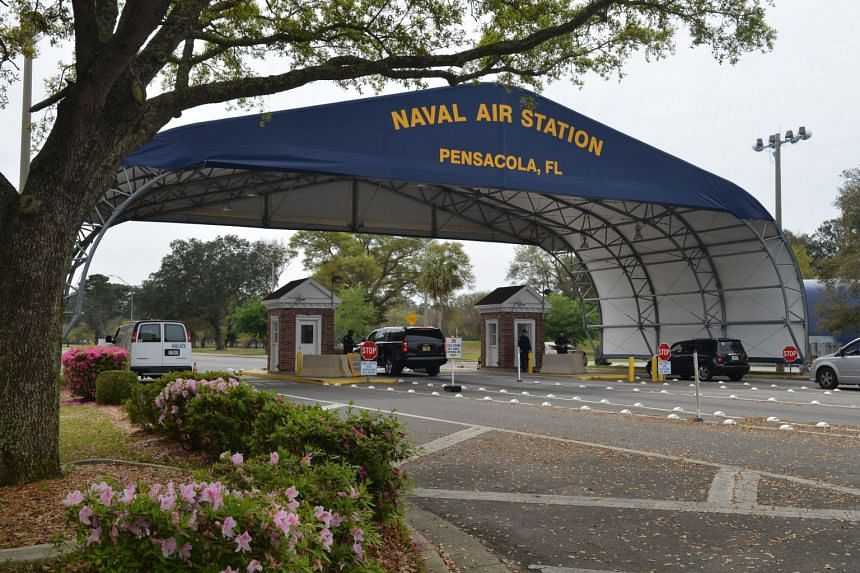 A US Navy handout photo shows the main gate of the Naval Air Station Pensacola in Pensacola, Florida.