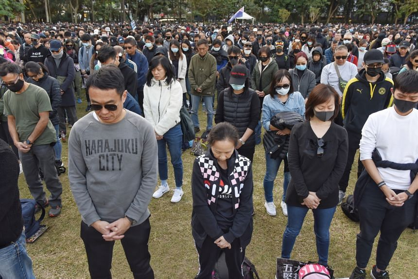 Protesters during a Human Rights Day march, organised by the Civil Human Rights Front, in Hong Kong on Dec 8, 2019.
