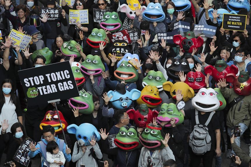 Protesters marching in Hong Kong on Dec 8, 2019.