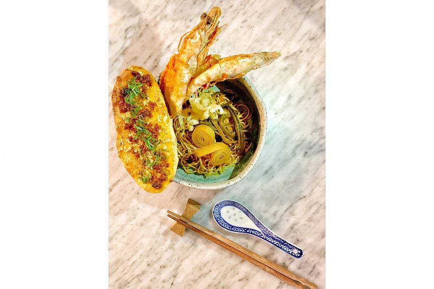 Kombucha from artisan producer Yocha Kombucha and Morsels restaurant's Wild Sri Lankan Prawns Ma Ra Men (above), which features a fermented sakura ebi mala sauce.