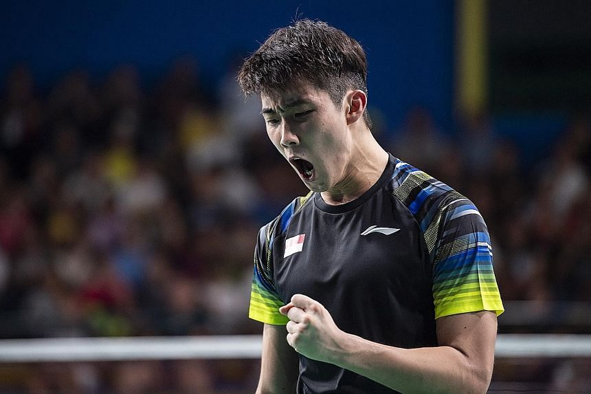 Loh Kean Yew after beating Soong Joo Ven to reach the quarter-finals. He faces another Malaysian, world No. 14 Lee Zii Jia, in the final today. PHOTO: SNOC