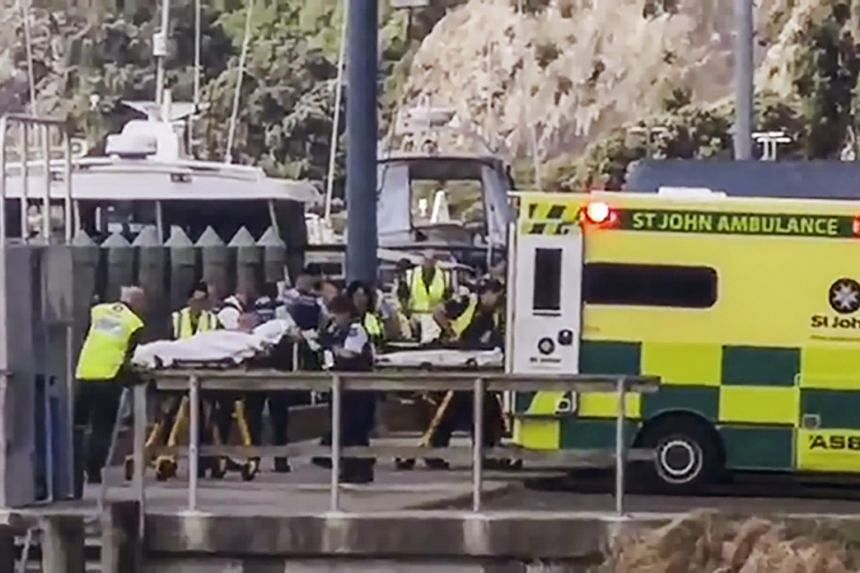 Those injured from the White Island volcanic eruption are ferried into waiting ambulances in Whakatane, New Zealand, on Dec 9, 2019.