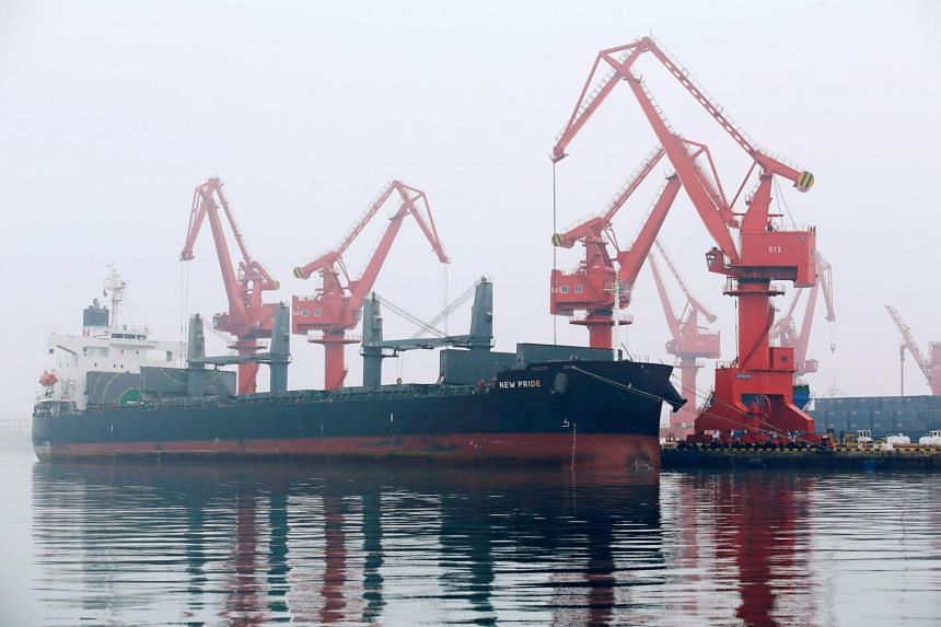 A crude oil tanker is seen at Qingdao Port, Shandong province, China.
