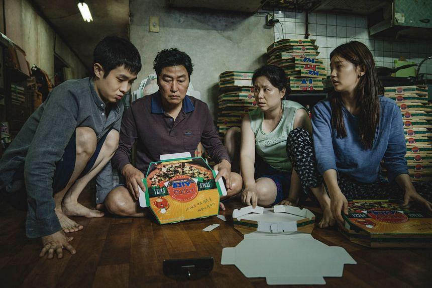 Parasite starring (from left) Choi Woo-sik, Song Kang-ho, Jang Hye-jin and Park So-dam.