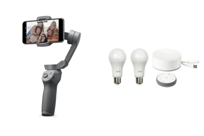 New to the third iteration of the DJI Osmo Mobile (left) is a foldable design that is more portable than its predecessor, while the Ikea Tradfri Gateway Kit comes with two E14 (small base) and one E27 (large base) smart bulbs, a remote control and a