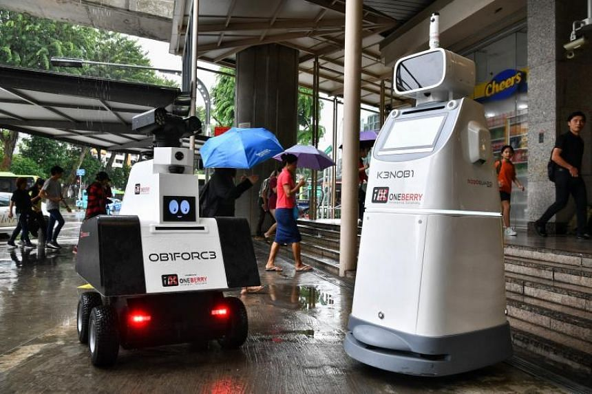 The robots are equipped with intelligent surveillance cameras, sensors and video analytics capabilities.