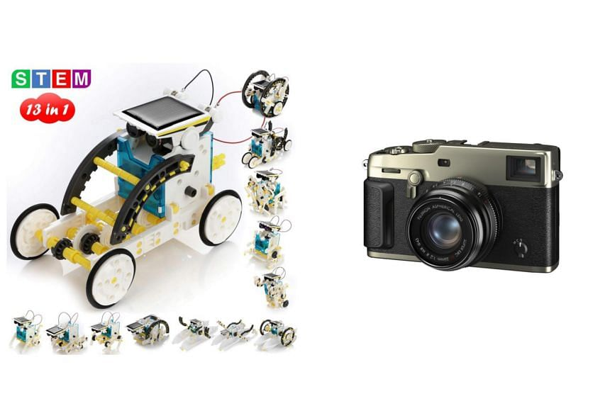 Pokonboy's 13-in-1 Solar Robot Creation Kit (left) and the Fujifilm X-Pro3 are among the top picks for Christmas.