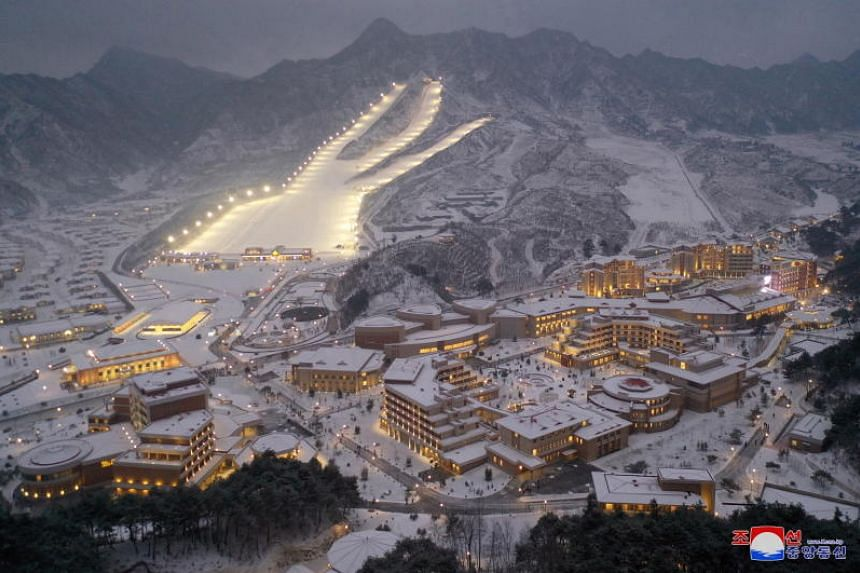 A photo released by the official North Korean Central News Agency on Dec 8, 2019, shows a view of the completed Yangdok County Hot Spring Cultural Recreation Centre in North Korea.