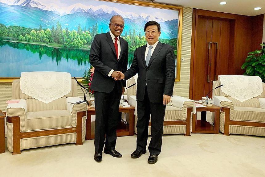 Law and Home Affairs Minister K. Shanmugam meeting Chinese State Councillor and Public Security Minister Zhao Kezhi in Beijing last Friday. PHOTO: K. SHANMUGAM/ FACEBOOK