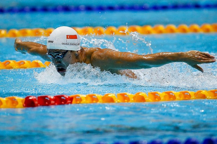 Quah Zheng Wen on his way to victory in the 200m butterfly final yesterday. He would go on to make it six golds in the 4x100m medley relay to become the most successful male swimmer at the Philippine SEA Games.