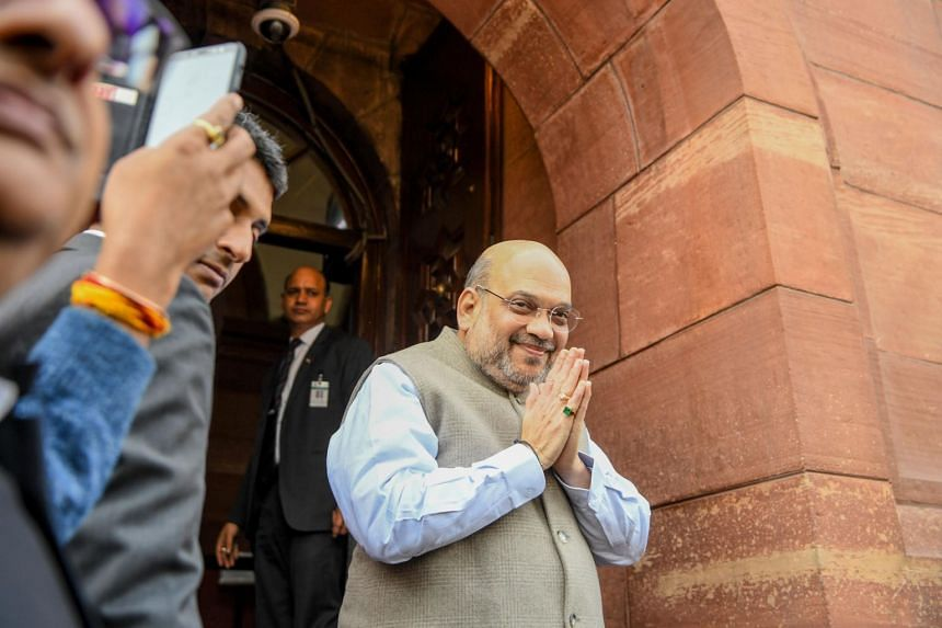 India's Home Minister Amit Shah arrives at Parliament House in New Delhi on Dec 10, 2019.