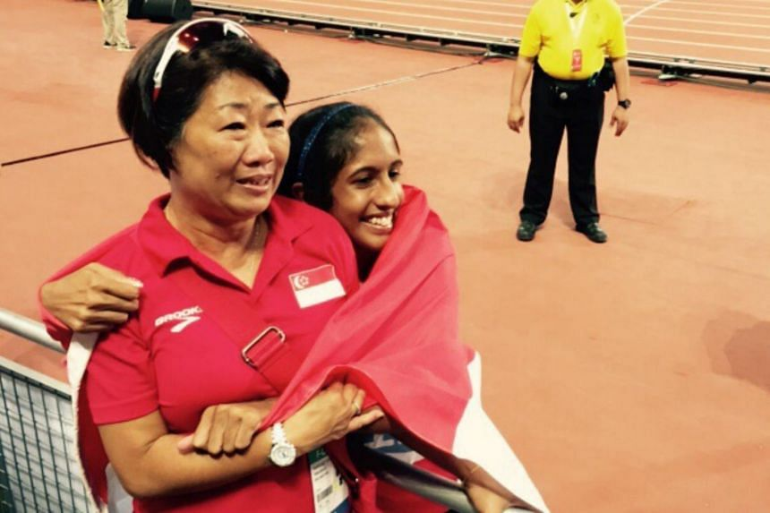 It is understood Margaret Oh (left) had quit as Shanti Pereira's coach as she felt she was not producing results as a trainer.