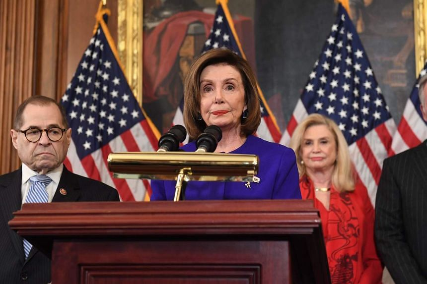 House Speaker Nancy Pelosi announcing articles of impeachment for US President Donald Trump during a press conference at the US Capitol in Washington on Dec 10, 2019.
