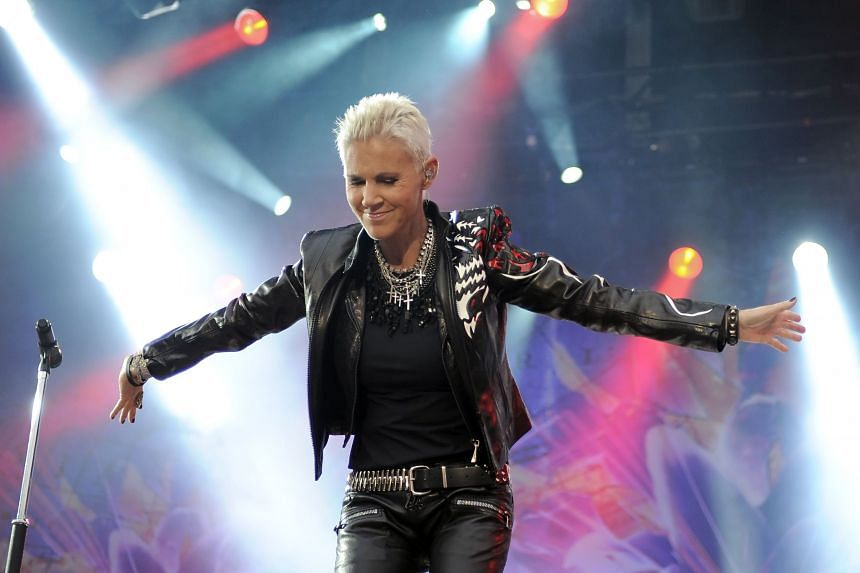 A photo taken on June 11, 2011, shows Marie Fredriksson performing during a concert in Berlin.