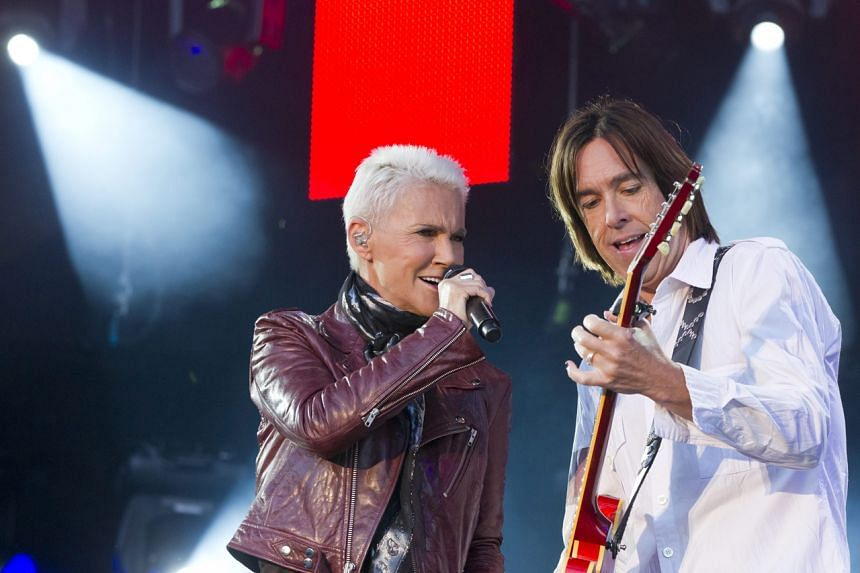A photo taken on July 17, 2012, shows Roxette's Marie Fredriksson and Per Gessle performing in Zurich.