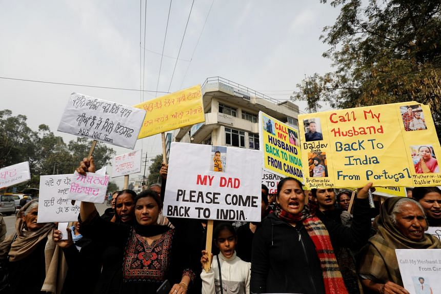 Women, who say they have been abandoned by NRI (non-resident Indian) husbands, take part in an organised protest in Jalandhar, Punjab, India, on March 8, 2019.