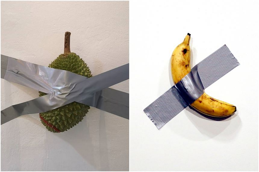 Durian and dessert shop 99 Old Trees posted a picture of a durian taped to a wall after news of a US$120,000 (S$163,000) banana taped to a wall was sold and then eaten.