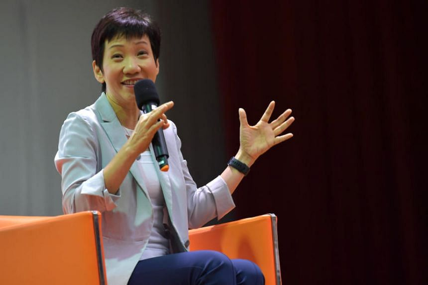Minister for Culture, Community and Youth Grace Fu speaking at a dialogue during the OnePeople.sg Model United Nations opening ceremony at Yishun Innova Junior College on Dec 10, 2019.
