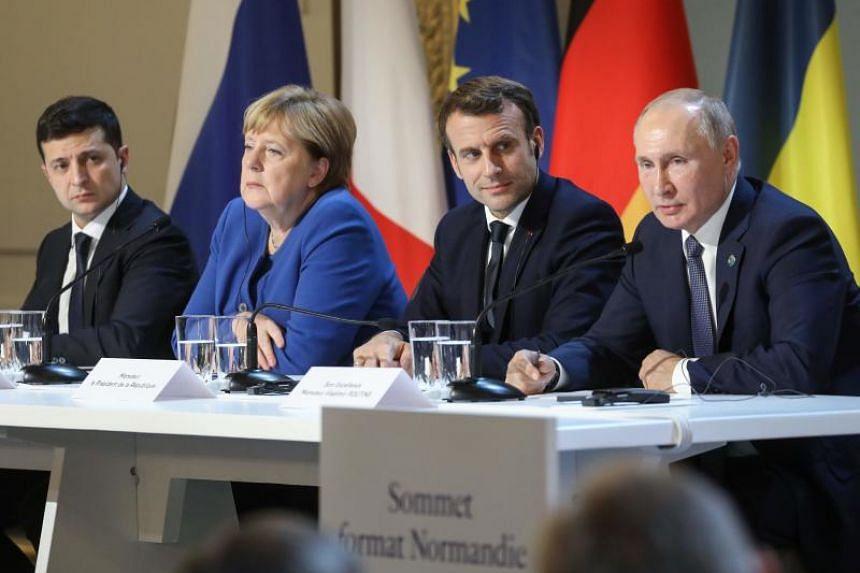 (From left) Ukrainian President Volodymyr Zelensky, German Chancellor Angela Merkel, French President Emmanuel Macron and Russian President Vladimir Putin at a summit in Paris on Dec 9, 2019.